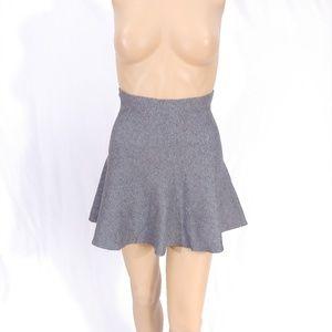 NWT ZARA Knit Gray Fit & Flare Skater Mini Skirt S